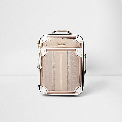 Cream mixed texture panelled suitcase