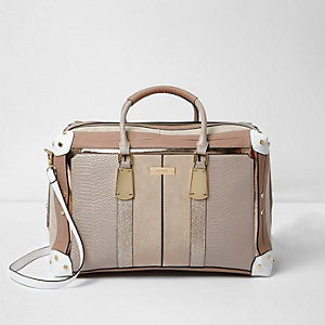 Cream panelled weekend bag