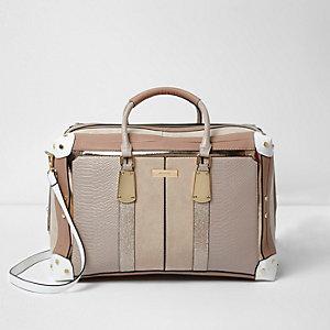Cream panelled weekend bag