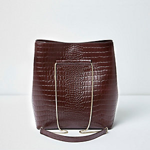 Dark red croc embossed leather bucket bag