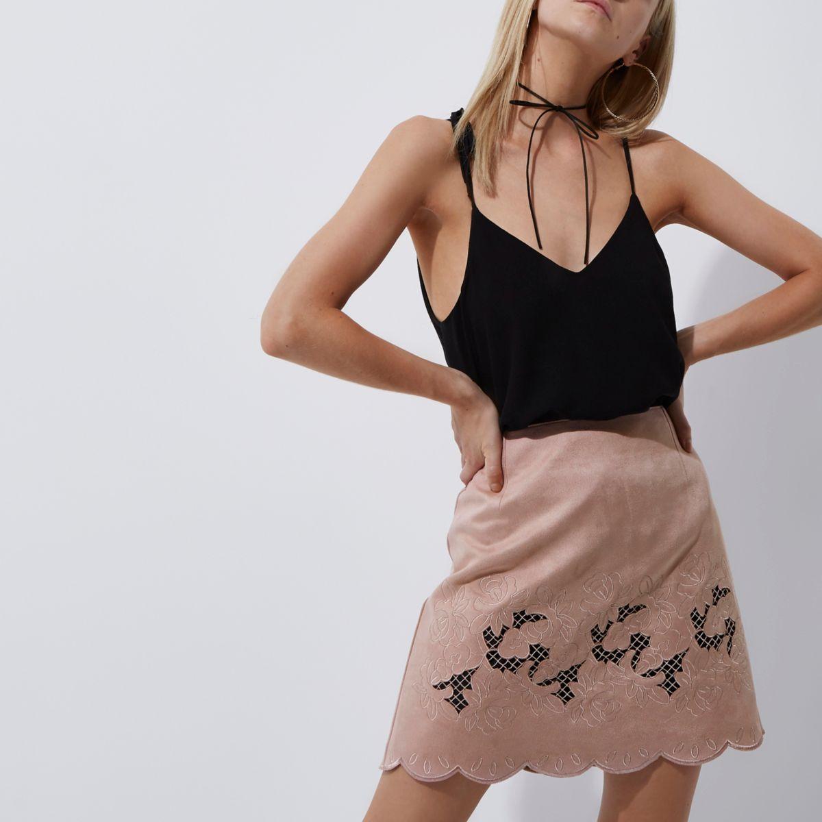 Petite beige faux suede laser cut mini skirt