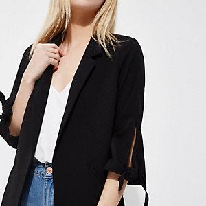 Petite black tie sleeve blazer