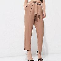 Petite nude tie waist tapered pants