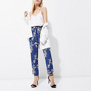 Petite – Pantalon fuselé à fleurs bleu