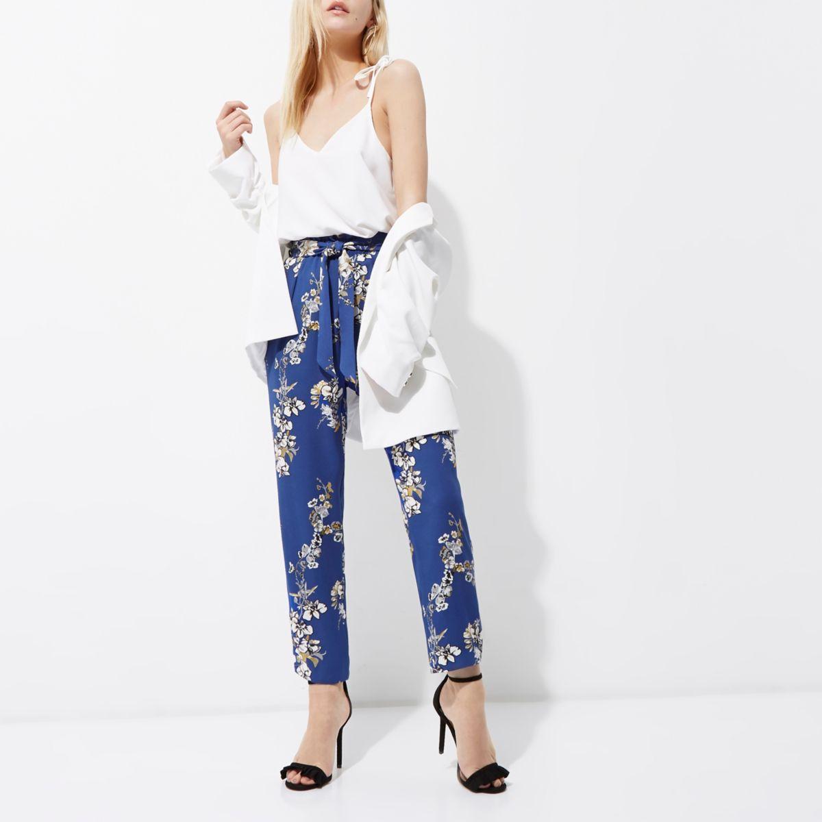 Petite blue floral print tapered pants