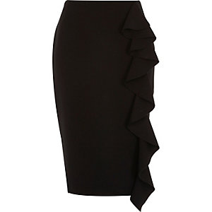 Black frill front pencil skirt