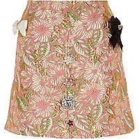 Pink floral brocade embellished mini skirt