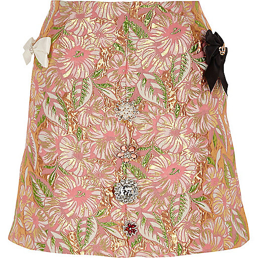 Pink floral brocade embellished mini skirt