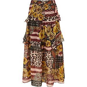 Brown mix print tiered frill maxi skirt