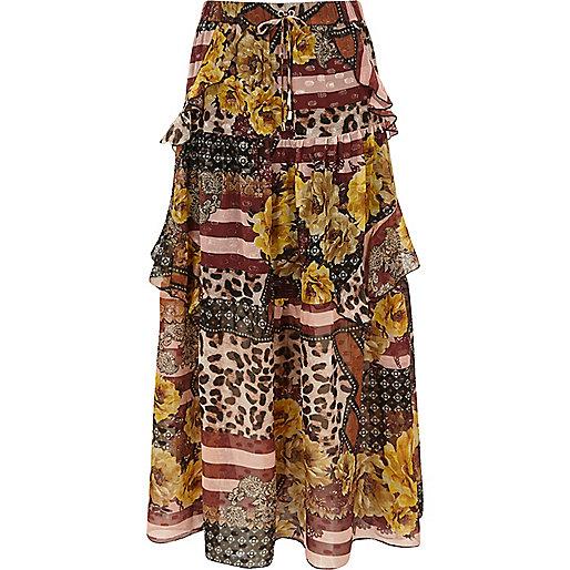 Brown mix print tiered frill maxi skirt