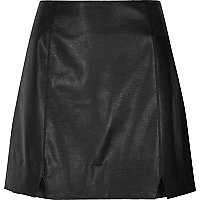Black faux leather notch front mini skirt