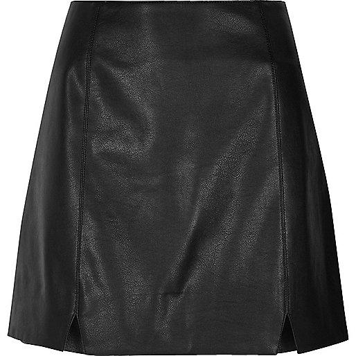 Black faux leather notch front mini skirt