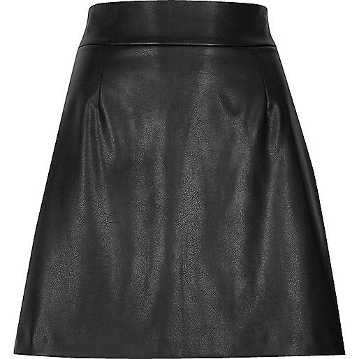 Black faux leather high waisted mini skirt
