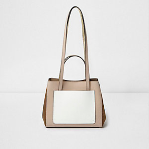 Beige leather patchwork winged mini tote bag