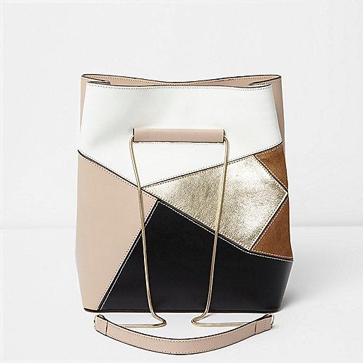 Light beige leather patchwork bucket bag