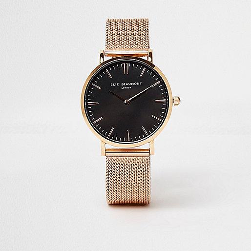 Rose gold tone Elie Beaumont mesh strap watch