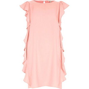 Light pink side frill swing dress