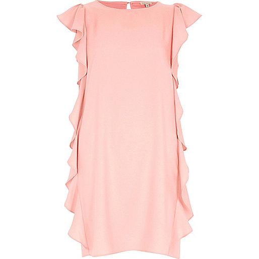 Light pink side frill swing dress