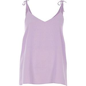 Light purple bow shoulder cami top