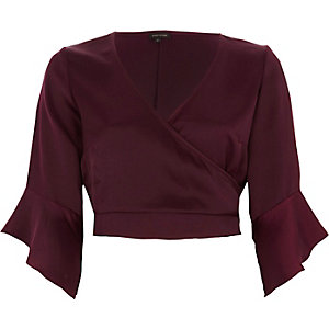 Dark red satin wrap frill sleeve crop top