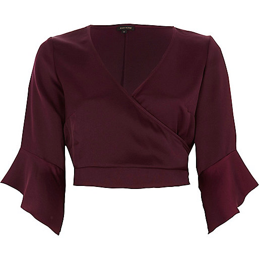 Dark red satin wrap frill sleeve crop top