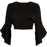 Black satin wrap frill sleeve crop top