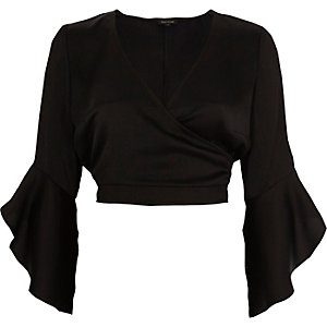 Black satin wrap frill sleeve crop top