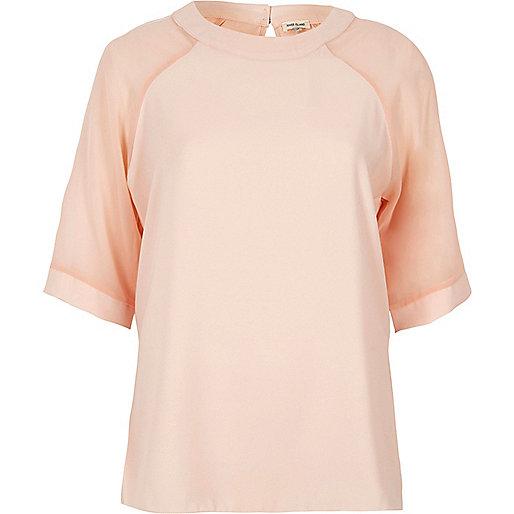 Light pink chiffon raglan sleeve T-shirt