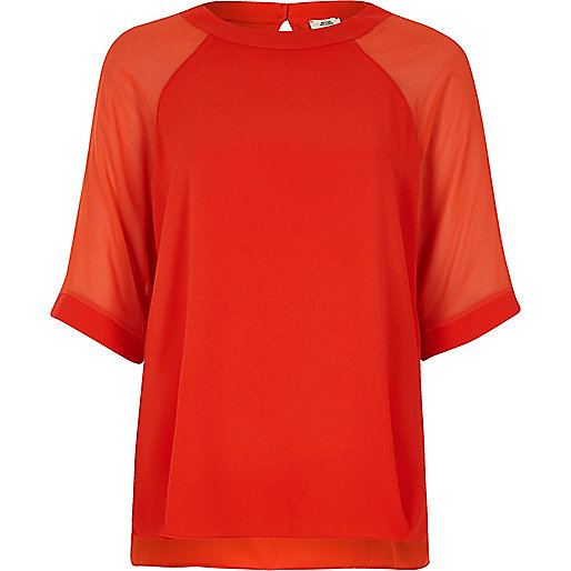 Red chiffon raglan sleeve T-shirt