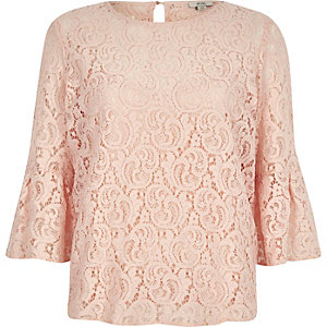 Light pink lace bell sleeve top