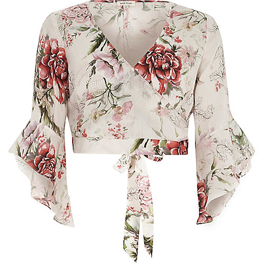 Cream floral wrap frill sleeve crop top