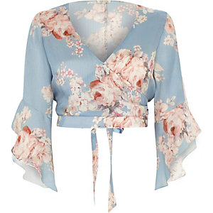 Blue floral wrap frill sleeve crop top