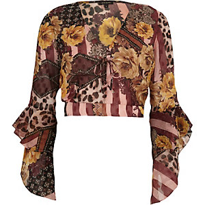 Red mixed print wrap frill sleeve crop top