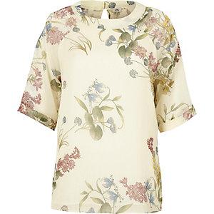 Crème chiffon T-shirt met bloemenprint