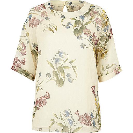Cream floral print chiffon T-shirt