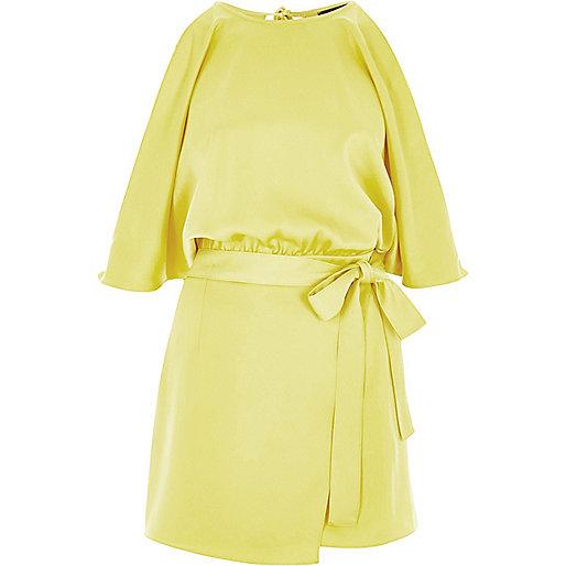 Yellow cold shoulder wrap skort playsuit
