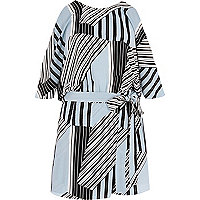Blue stripe tie waist cold shoulder playsuit