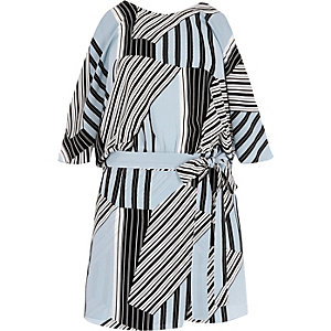 Blue stripe tie waist cold shoulder romper