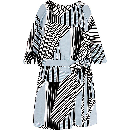 Blue stripe tie waist cold shoulder romper