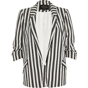 Black mono stripe ruched sleeve blazer