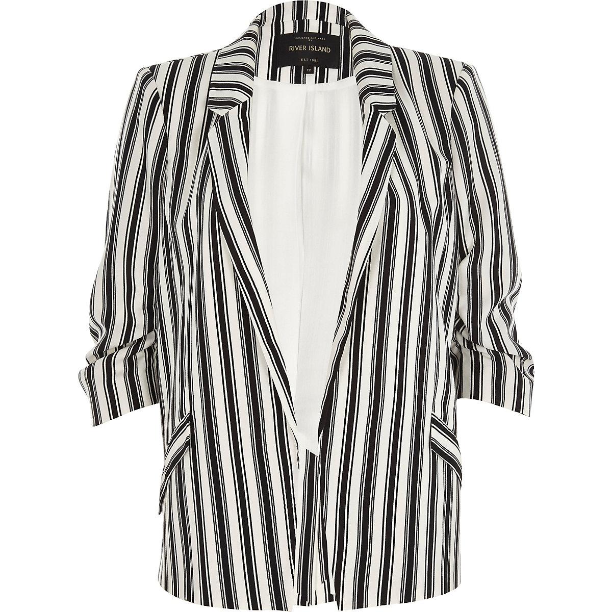 Black mono stripe ruched sleeve blazer