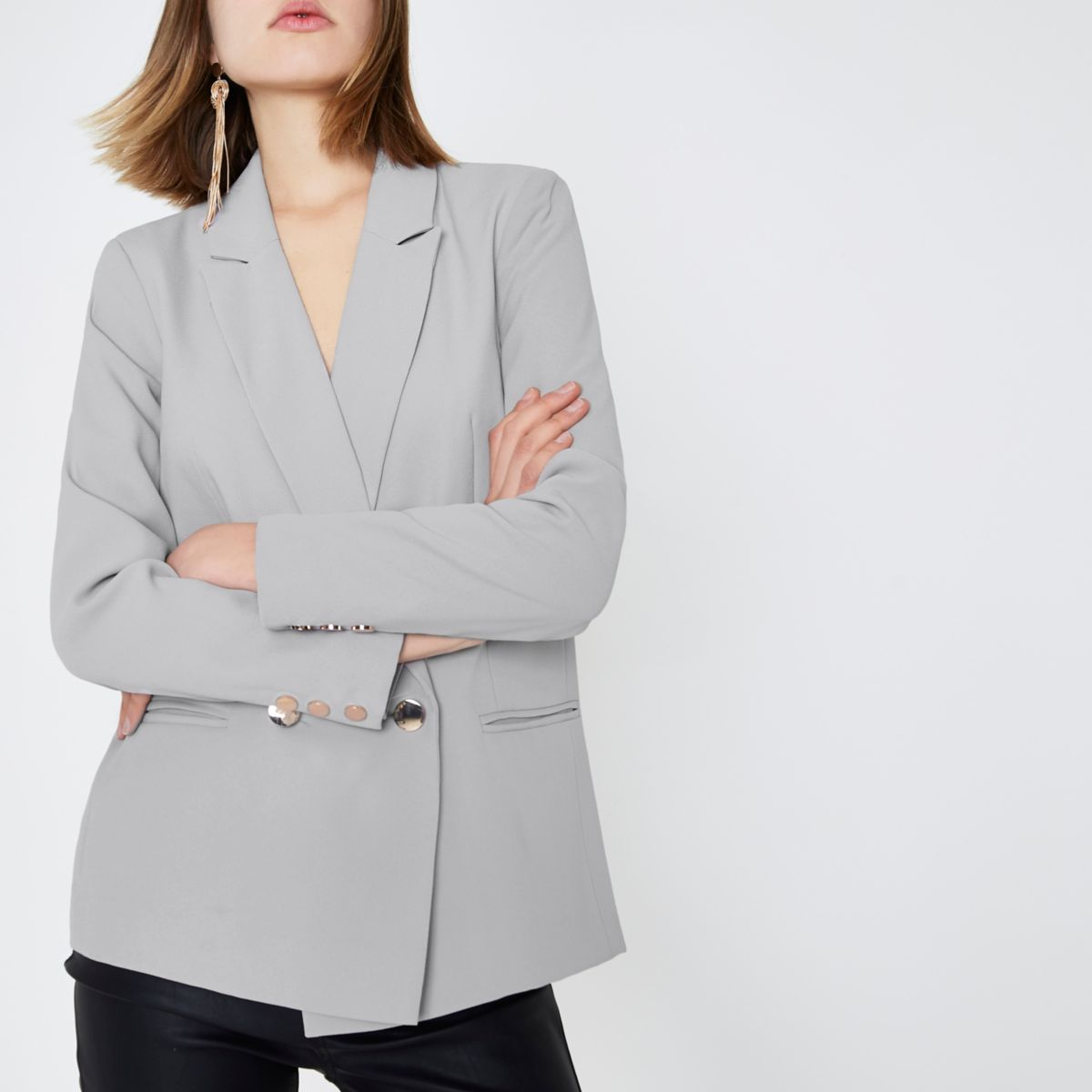Grey double breasted blazer