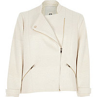 Cream boucle biker jacket