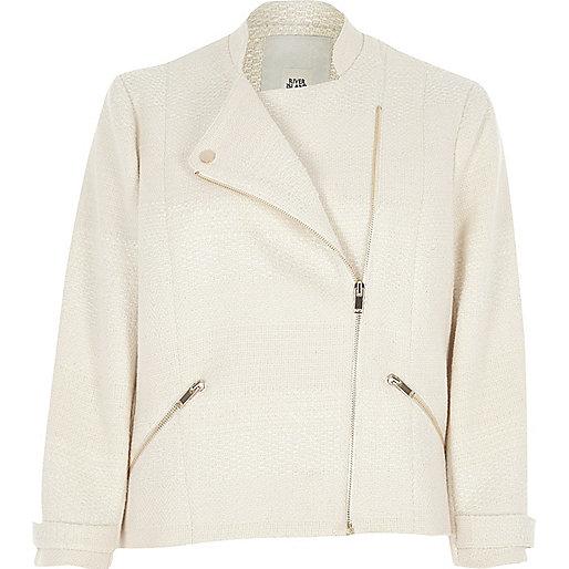 Cream boucle biker jacket