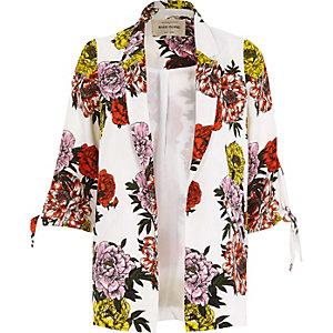 Witte blazer met strik aan de mouwen en bloemenprint