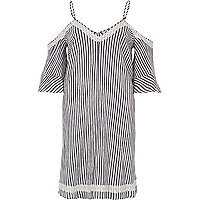 Grey stripe cold shoulder swing dress