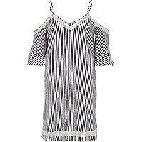 Grey stripe cold shoulder swing dress