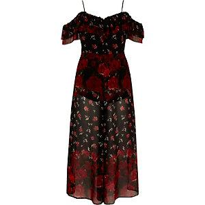 Black floral bardot culotte jumpsuit