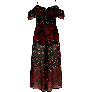 Combinaison jupe-culotte Bardot à fleurs noire