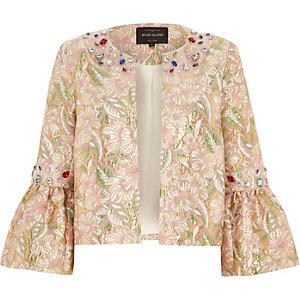 Pink brocade gem embellished trophy jacket